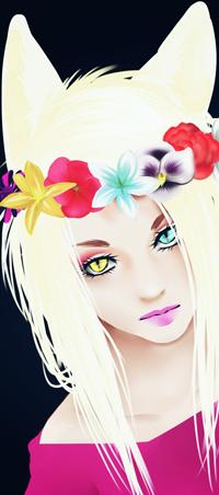 Аватар вконтакте Белокурая девушка-нэко с разноцветными глазами и венком на голове, by NekoBobo