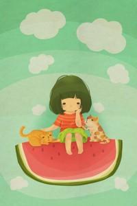 Аватар вконтакте Котики утешают грустную девочку, которая сидит на дольке арбуза среди облачков, by Minee