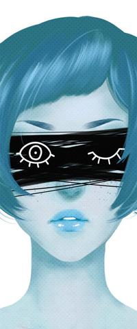 99px.ru аватар Синеволосая девушка с закрашенными глазами черным, by NekoBobo