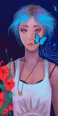 Аватар вконтакте Девушка с голубыми волосами и бабочками на лице, с букетом цветов