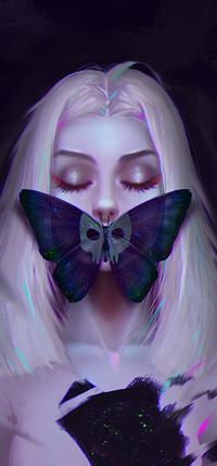99px.ru аватар Белокурая девушка с бабочкой на губах, by Prywinko