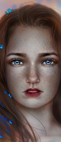 Аватар вконтакте Рыжеволосая и голубоглазая девушка с веснушками на фоне голубых цветков, by kalisami