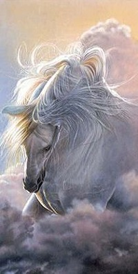 Аватар вконтакте Белая лошадь в облаках, by Paul Miners
