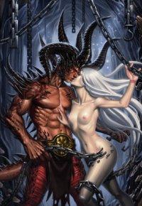 Аватар вконтакте Рисунок обнаженной девушки-ангела целующей демона