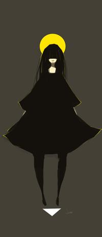 Аватар вконтакте Девушка в черном платье на фоне желтого круга, by SagaTale
