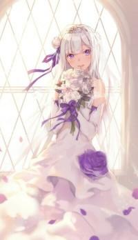 Аватар вконтакте Эмилия / Emilia из аниме Re: Жизнь в альтернативном мире с нуля / Re: Zero kara Hajimeru Isekai Seikatsu в свадебном платье с фиолетовыми розами, со свадебным букетом белых роз в руках