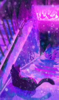 Аватар вконтакте Черная кошка лежит на ступеньках под падающим снегом