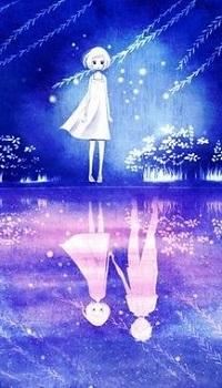 Аватар вконтакте Девочка стоит у воды с отражением ее и парня, by Raindrop