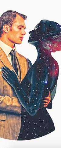 Аватар вконтакте Парень обнимает космическую девушку, by NickyBarkla