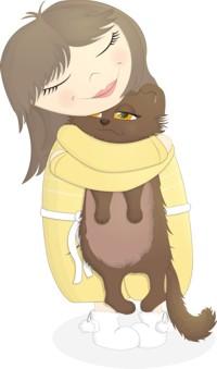 Аватар вконтакте Девушка крепко обнимает кота, by Ellensia