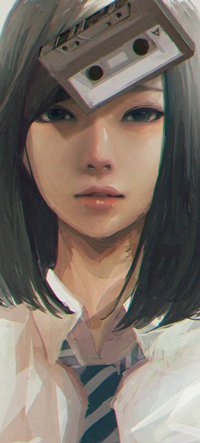 Аватар вконтакте Девушки c ауди-кассетой на голове, by wataboku