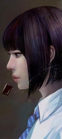 Аватар вконтакте Девушка в профиль на фоне шоколада, by wataboku