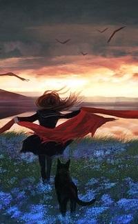 Аватар вконтакте Девушка с собакой на цветочном поле