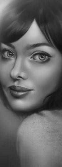 Аватар вконтакте Черно-белый портрет девушки, by KarelMatejka