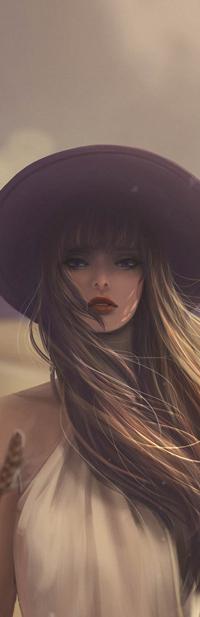 Аватар вконтакте Девушка в шляпке на фоне неба, by jennyshiii