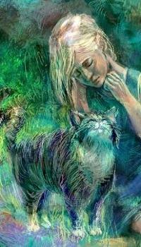 Аватар вконтакте Девочка сидит рядом с кошкой