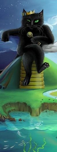 Аватар вконтакте Черный кот в короне, с ключом в лапе, во сидит на горе