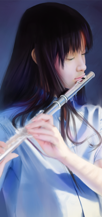 Аватар вконтакте Азиатская девушка играет на флейте, by SourAcid