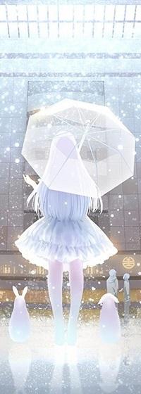 Аватар вконтакте Девушка с зонтом стоит к нам спиной и по бокам сидят зайчик и щенок