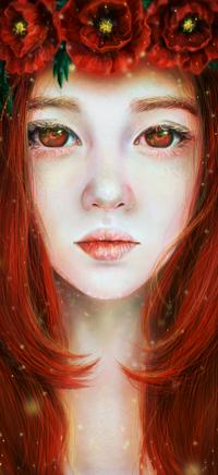 99px.ru аватар Рыжеволосая девушка с венком из красных цветков, by Fuytski