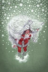 Аватар вконтакте Девочка в костюме Санта-Клауса несет большого снежного кота, by IrinaSovetova