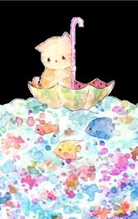 Аватар вконтакте Котенок плывет в зонтике по разноцветной воде с рыбками и медузой, by Melonkitten