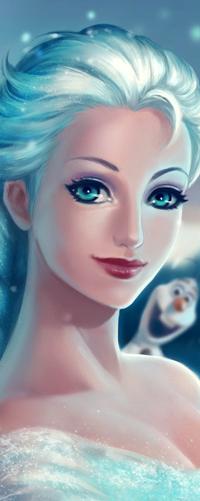 Аватар вконтакте Эльза / Elsa и Снеговик Олаф / Olaf из анимационного мультфильма Холодное сердце / Cold heart, by Ashline-illus