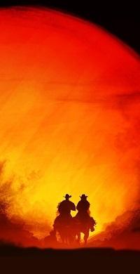 Аватар вконтакте Силуэты двух ковбоев верхом на фоне оранжевого солнца, by Kvacm