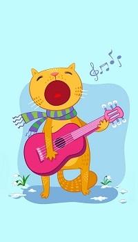 Аватар вконтакте Мартовский кот распевает песни под гитару на голубом фоне