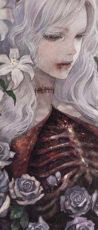Аватар вконтакте Белокурая девушка украшенная цветами и открытой грудной клеткой