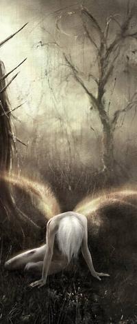 Аватар вконтакте Падший ангел сидит на земле возле дерева