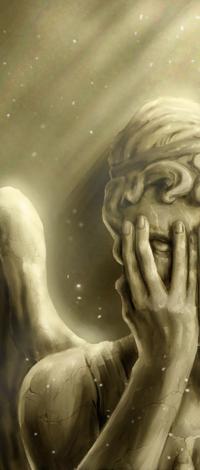 Аватар вконтакте Плачущий ангел закрыл лицо руками