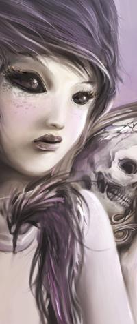 Аватар вконтакте Девочка-ангел с черными глазами и череп