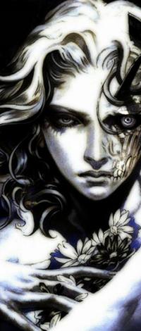 Аватар вконтакте Ангел с татуировкой на лице и цветами в руках