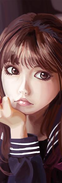 Аватар вконтакте Азиатская девушка с рукой у лица, by hujunisei