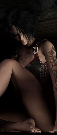 Аватар вконтакте Девушка с татуировкой и в корсете сидит на полу