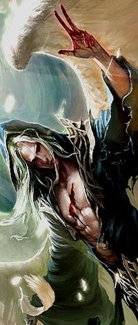 Аватар вконтакте Ангел сбелыми волосами и с порезом на груди поднял два пальца вверх