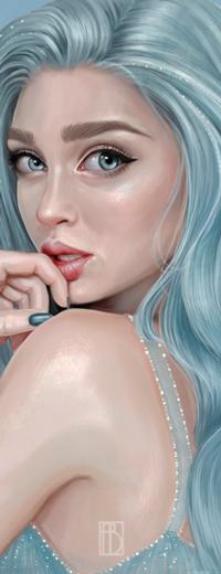 Аватар вконтакте Длинноволосая девушка с рукой у губ, by iseeidraw