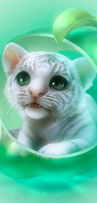 Аватар вконтакте Белый тигренок с зелеными глазами, художник Shu Mizoguchi