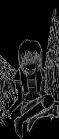 Аватар вконтакте Нарисованная девушка ангел сидит и грустит