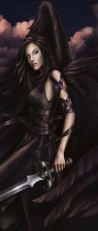 Аватар вконтакте Девушка темный ангел с мечем на фоне облаков