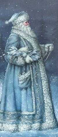 Аватар вконтакте Дед мороз в голубом идет по снегу в лесу, несет птичку подмышкой