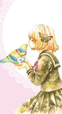 Аватар вконтакте Девушка в школьной форме целует желто-голубую птичку с письмом на шее