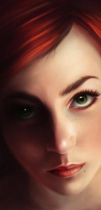 Аватар вконтакте Рыжеволосая и зеленоглазая девушка, by krayisako