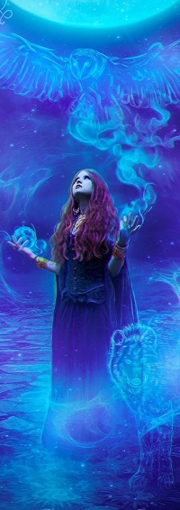 Аватар вконтакте Девушка с магией лунного света в виде совы над ней и волка у ног