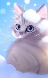 Аватар вконтакте Белый кот со снежком на голове, by Apofiss