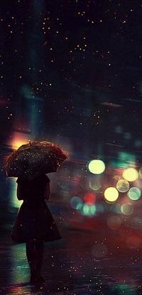 Аватар вконтакте Девушка с зонтом стоит на фоне бликов, by BaxiaArt