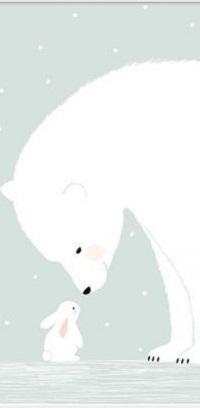 Аватар вконтакте Кролик стоит перед большим белым медведем