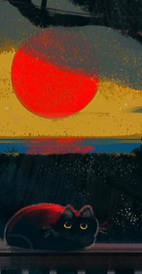 Аватар вконтакте Кошка на фоне красного солнца