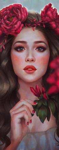 Аватар вконтакте Темноволосая девушка с розовыми пионами, by serafleur